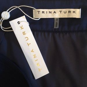 Trina Turk calf length navy tulle skirt